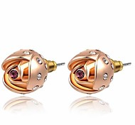 cheap -Lovely 18K Rose Gold Plated Jewelry Use Shining Purple Crystal Rose Flower Stud Earrings