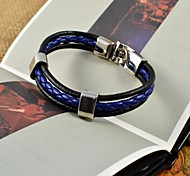 Fashion Men's Fresh Blue PU Leather Bracelets