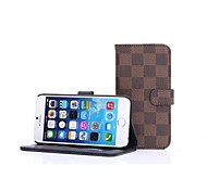 abordables -HHMM Grid Pattern Can Insert Card PU Leather Cases with Stand  for iPhone 6 plus Case 5.5 inch(Assorted Colors)