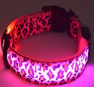 Dog Collar LED Lights Batteries Included Adjustable Fit Leopard Print Nylon White Yellow Pink