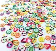 300pcs смешанный стиль фимо ломтик фрукты серии ногтей украшения