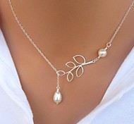 cheap -Women's Leaf Pearl Imitation Pearl Alloy Pendant Necklace Pearl Necklace - Pearl Imitation Pearl Alloy Basic Fashion Simple Style Leaf