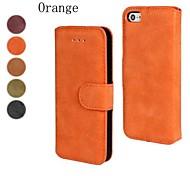 скраб пу кожаный чехол для всего тела с подставкой и слот для карт памяти для IPhone 4 / 4s (разных цветов)