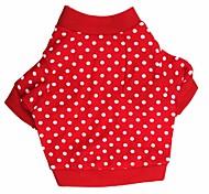abordables -Chat / Chien Tee-shirt Vêtements pour Chien Points Polka Rouge Coton Costume Pour les animaux domestiques