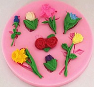 Valentine's Day Roses Lilies Tulips Flower Fondant Cake Molds