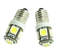 Недорогие -e10 1w 5x5050smd 70-90lm 6500-7500k теплый белый свет для двери автомобиля лампы (dc12-16v)