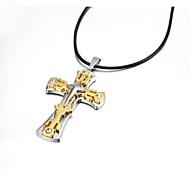 Недорогие -Ожерелье Ожерелья с подвесками Бижутерия Для вечеринок Спорт Крестообразной формы Сплав Кожа Подарок Черный
