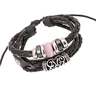 leather Charm BraceletsZ&X®  Punk Fashion Vintage Beads Combination Leather Rope Strand Bracelets