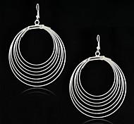Недорогие -мода цыганский стиль серебра антиквариата мульти круги большой обруч серьги