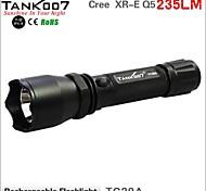 TANK007 TC29A Rechargeable 3-Mode Cree XR-E Q5  LED Flashlight (235LM,1x18650, Black)