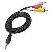 cheap -1.5M 5FT 3.5mm Mini AV to 3 RCA Male Adapter Audio Video Camcorder Cable
