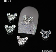 10pcs Lovely Super Cute Mouse DIY Rhinestone Nail Art Decoration