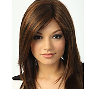 cheap -Wigs Straight Side Part Highlighted/Balayage Hair With Bangs Capless Natural Wigs Brown Daily