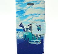 COCO FUN® Animal Bus Pattern PU Leather Case with Screen Protector and USB Cable and Stylus for iPhone 4/4S