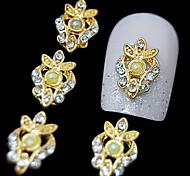 10pcs de ouro luxuoso liga strass arte do prego decoração 3d