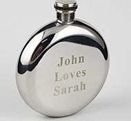 Personalized Stainless Steel 5-oz Round Hip Flask