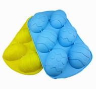 Недорогие -6 отверстий форма яйцо торт лед желе Формы для шоколада, силиконовая 27 × 17 × 3,5 см (10,6 × 6,7 × 1.4inch) случайный цвет