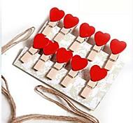10 PCS Wood Heart Shaped Multifunctional Clips (Random Color)