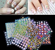 cheap -50pcs Nail Jewelry 3D Nail Stickers Nail Stamping Template Daily Fashion Lovely High Quality