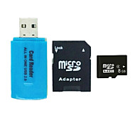 8GB Class 4 MicroSDHC TF Flash Memory Card with SD SDHC Adapter and USB Card Reader