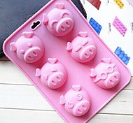 6 Hole Pig Face Shape Cake Mold