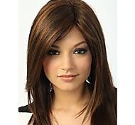 монолитным цветовой гаммы большая длина высококачественных натуральных прямые волосы синтетический парик с боковой челкой