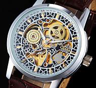 Муж. Наручные часы Механические часы С автоподзаводом С гравировкой Фосфоресцирующий PU Группа Cool Люкс Коричневый