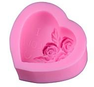 rosa forma moldes bolo de gelo geléia de chocolate, silicone 7 × 6,8 × 3,1 centímetros (2,8 × 2,7 × 1,2 polegadas)