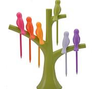 neje птица от формы дерево птичка фруктов держателя вилки набор