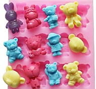 cheap -Bear Rabbit Animal Shaped Fondant Cake Chocolate Silicone Mold Cake Decoration Tools,L11.4cm*W10.6cm*H1.4cm
