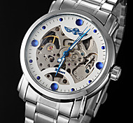 cheap -WINNER Men's Automatic self-winding Mechanical Watch Hollow Engraving Stainless Steel Band Charm Silver