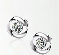 925 Sterling Silver Rotation Shaped Earrings Classical Feminine Style