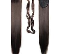 Недорогие -Темно-коричневый Прямой силуэт Конские хвостики Синтетический Волосы Наращивание волос