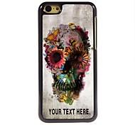 Недорогие -персонализированные случай череп и цветочный дизайн металлический корпус для iPhone 5с