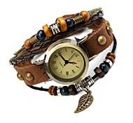 Mulheres Bracele Relógio Quartzo Couro Banda Vintage Marrom