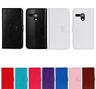 Для Кейс для Motorola Кошелек / Бумажник для карт / со стендом / Флип Кейс для Чехол Кейс для Один цвет Твердый Искусственная кожа