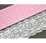 FOUR-C Lace Cake Mold Silicone Lace Mat Decoration Pad for Cake Baking,Silicone Mat Fondant Cake Tools Color Pink
