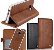 Для Кейс для HTC Бумажник для карт / Кошелек / со стендом / Флип Кейс для Чехол Кейс для Один цвет Твердый Натуральная кожа HTC