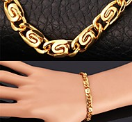 U7® Unique Design 18K Stamp Men's  Gold Plated Chunky Bracelet Men's Chain Bracelet Bangle for Men High Quality Christmas Gifts