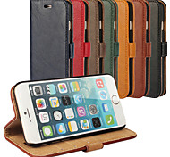 cheap -Case For Apple iPhone 6 iPhone 6 Plus Card Holder with Stand Full Body Cases Solid Color Hard Genuine Leather for iPhone 6s Plus iPhone