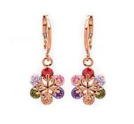Women's Fashion 18K Gold Filled Snowflake Colorful CZ Stone Pierced Dangle Earring
