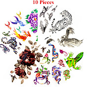 10PCS Mixed Patterns Temporary Tattoos Sticker Girl Women Flower Tattoos Arm Neck Tattoos