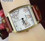 Handcee® Watch Women's PU Quartz Wrist Watch Butterfly Decoration Elegance Simple Design Watch