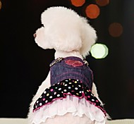 cheap -Dog Dress Dog Clothes Polka Dot Jeans Blue Cotton Costume For Pets Women's Cosplay