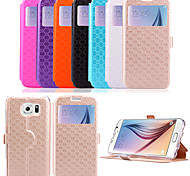cheap -5.1 Inch Window Pattern PU Wallet Leather Case for Samsung GALAXY S6 G9200