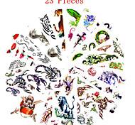 23PCS Mixed Patterns Temporary Tattoos Sticker Women Girl Flower Animal Tattoos Arm Neck Tattoos