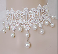 Ladies' White Lace  With Imitation Pearl Necklace