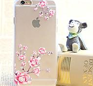 Недорогие -алмаз цветок сливы живопись прозрачный пластиковый корпус для iphone 6 плюс