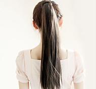 Недорогие -Угольно-чёрный (#1) синтетический Хвостик Прямые Micro Ring Hair Extensions Хвостик 22inch грамм Средний (90г-120г) Количество