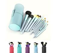 12PCS Blue Cosmetic Set Eyeshadow Wood Brush Blusher Blue Holder Make Up Brushes Estojo De Maquiagem Pinceis